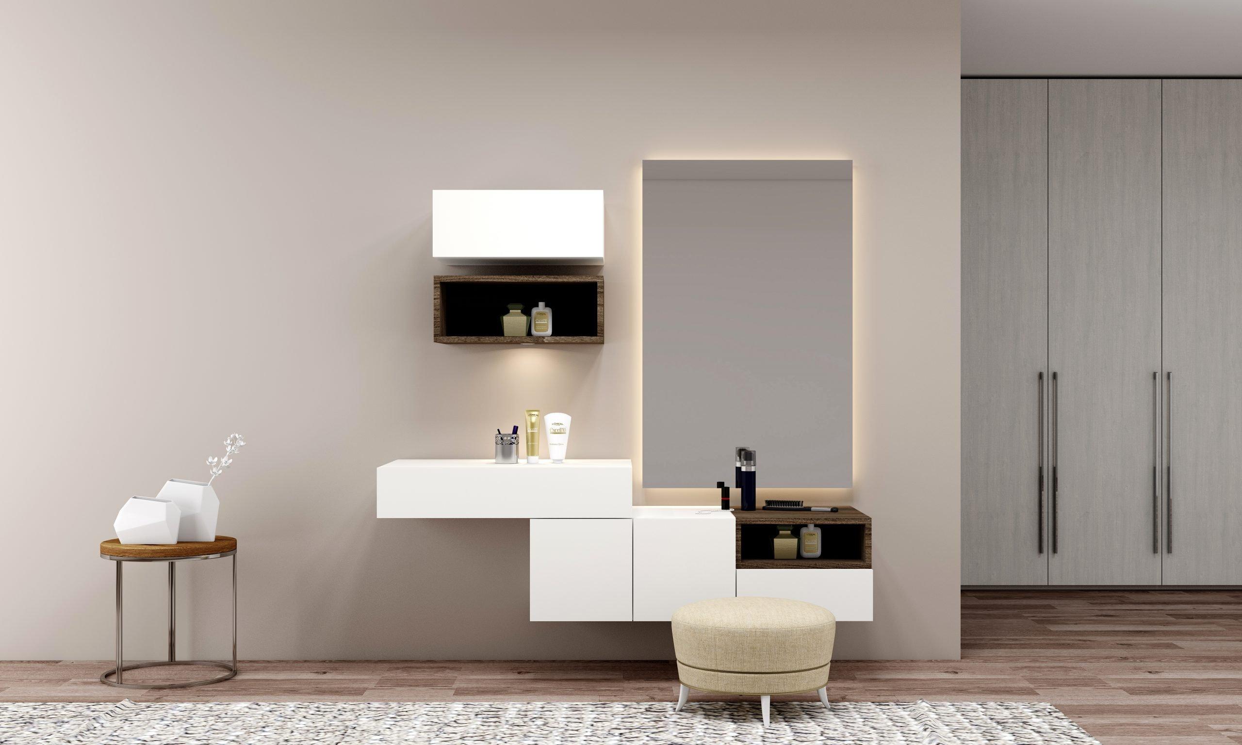 Bespoke dressing table with custom Storage in Alpine premium white