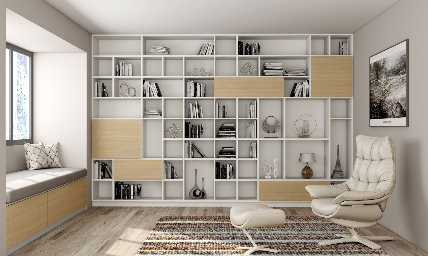 Book shelving for Library area in woodgrain and white finish