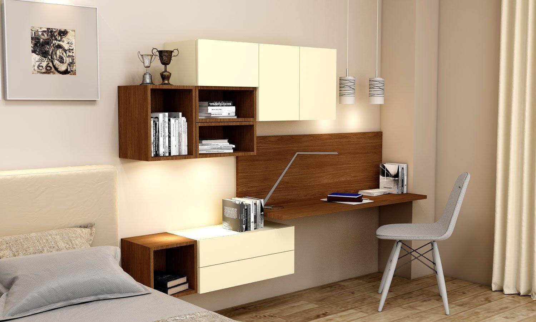 Desk and Study Unit Storage in Vanilla Yellow and Lincoln Walnut