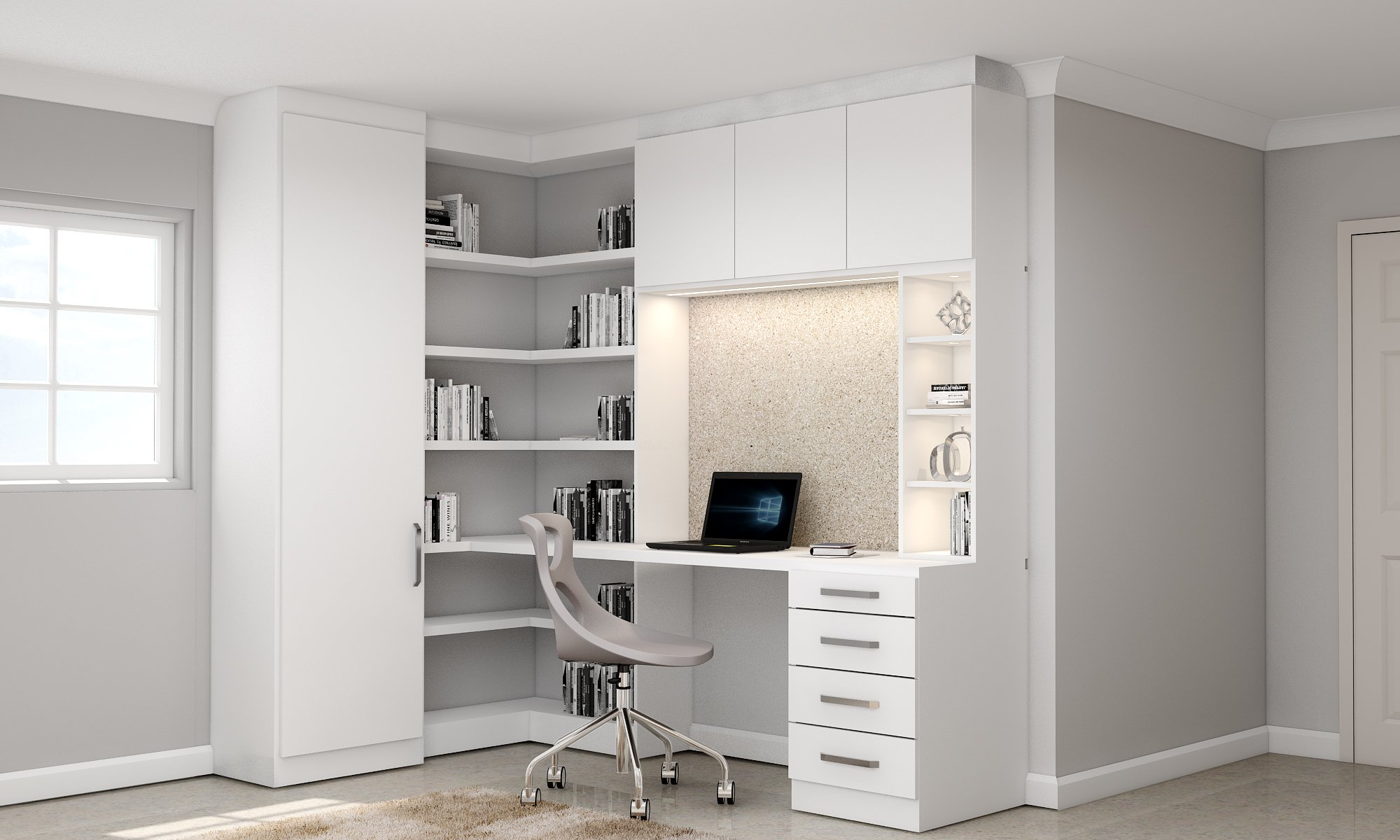Fitted home office with corner bookcases in white matt finish