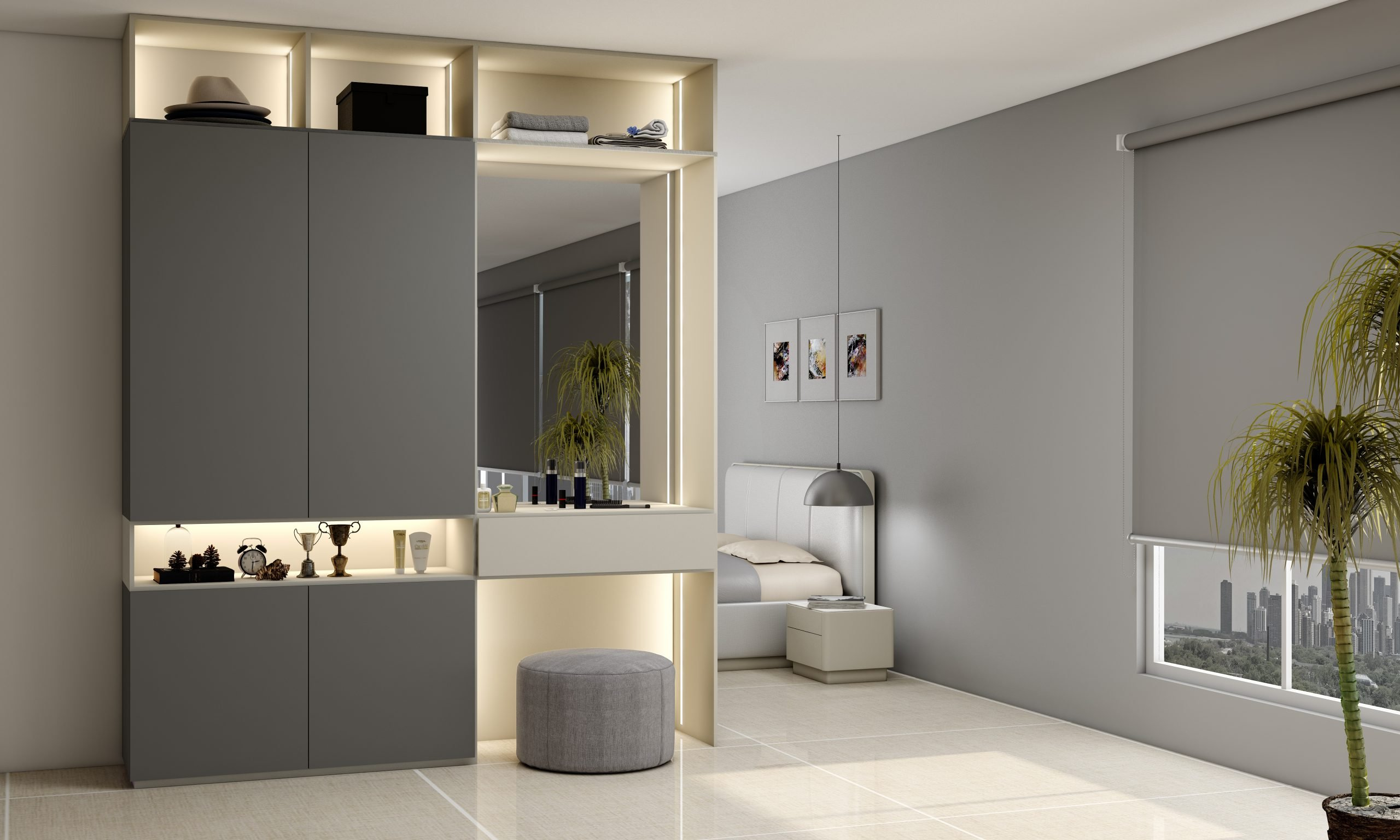 Hinged Wardrobe with Dresser Unit Storage in combination of dust grey and light grey finish