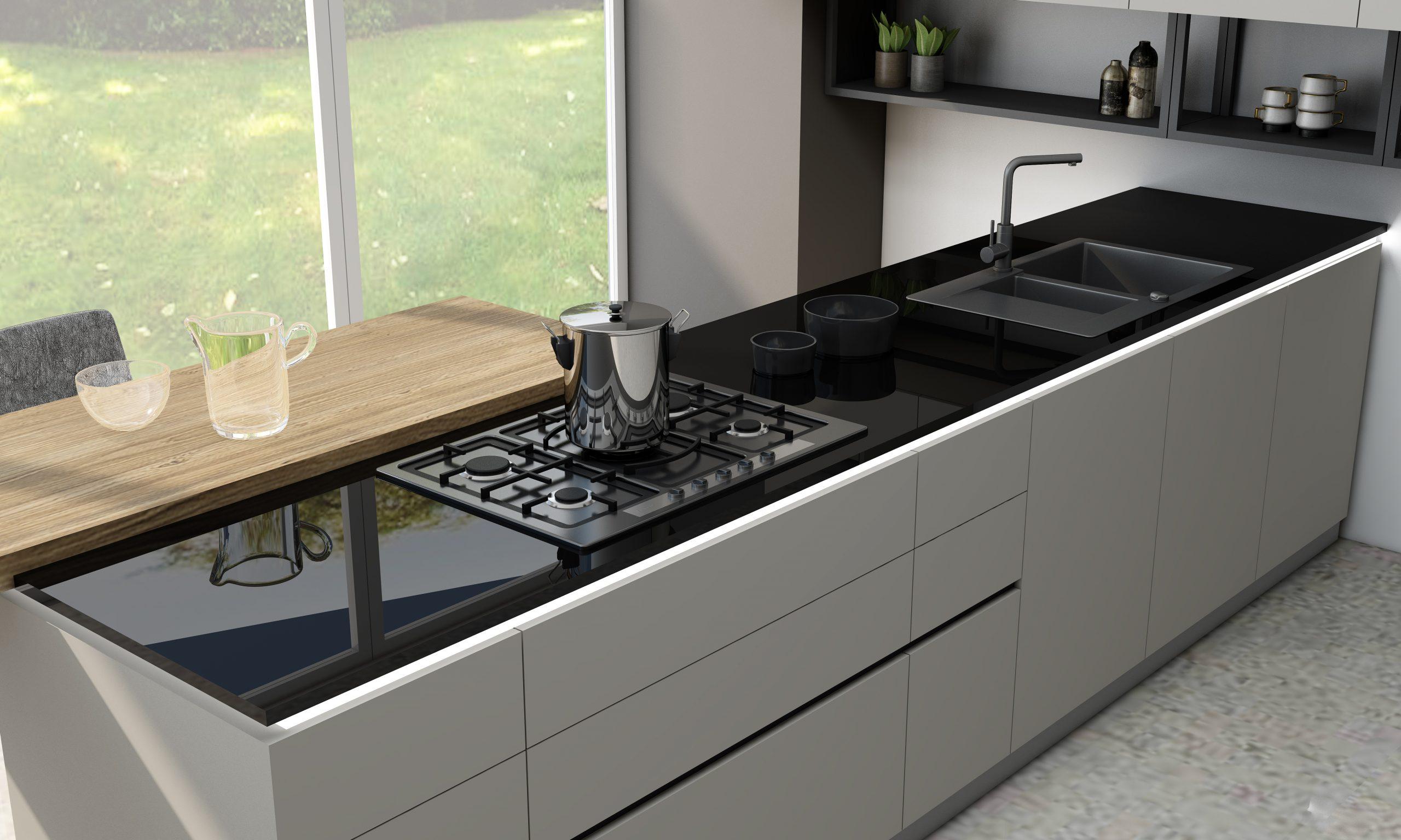 Kitchen worktop glass black- 1