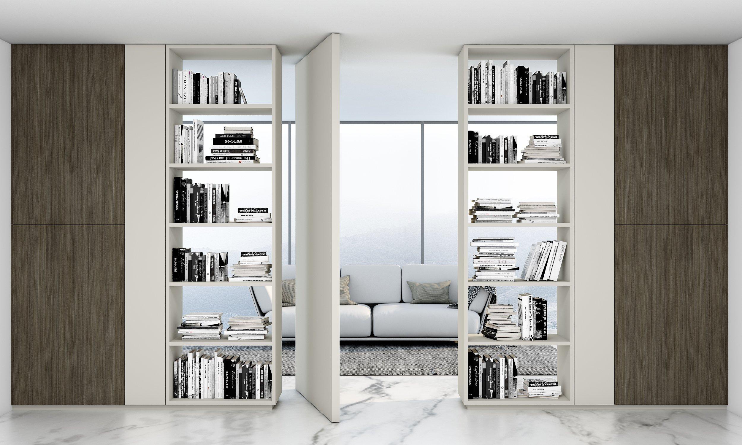 Library book storage bespoke shelving in matt white finish