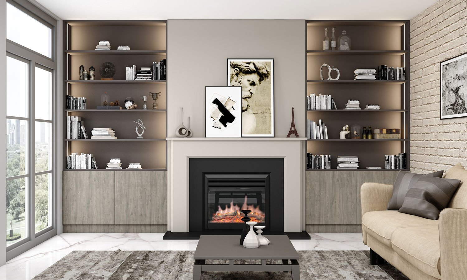 Living Room Alcove Design in Sherwood Woodgrains and Onyx Grey Finish
