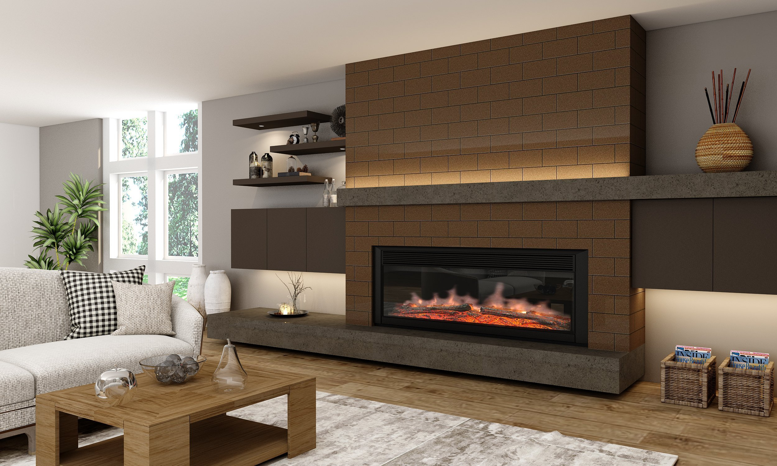 Living room alcove Design with floating shelves in Onyx grey finish (1)