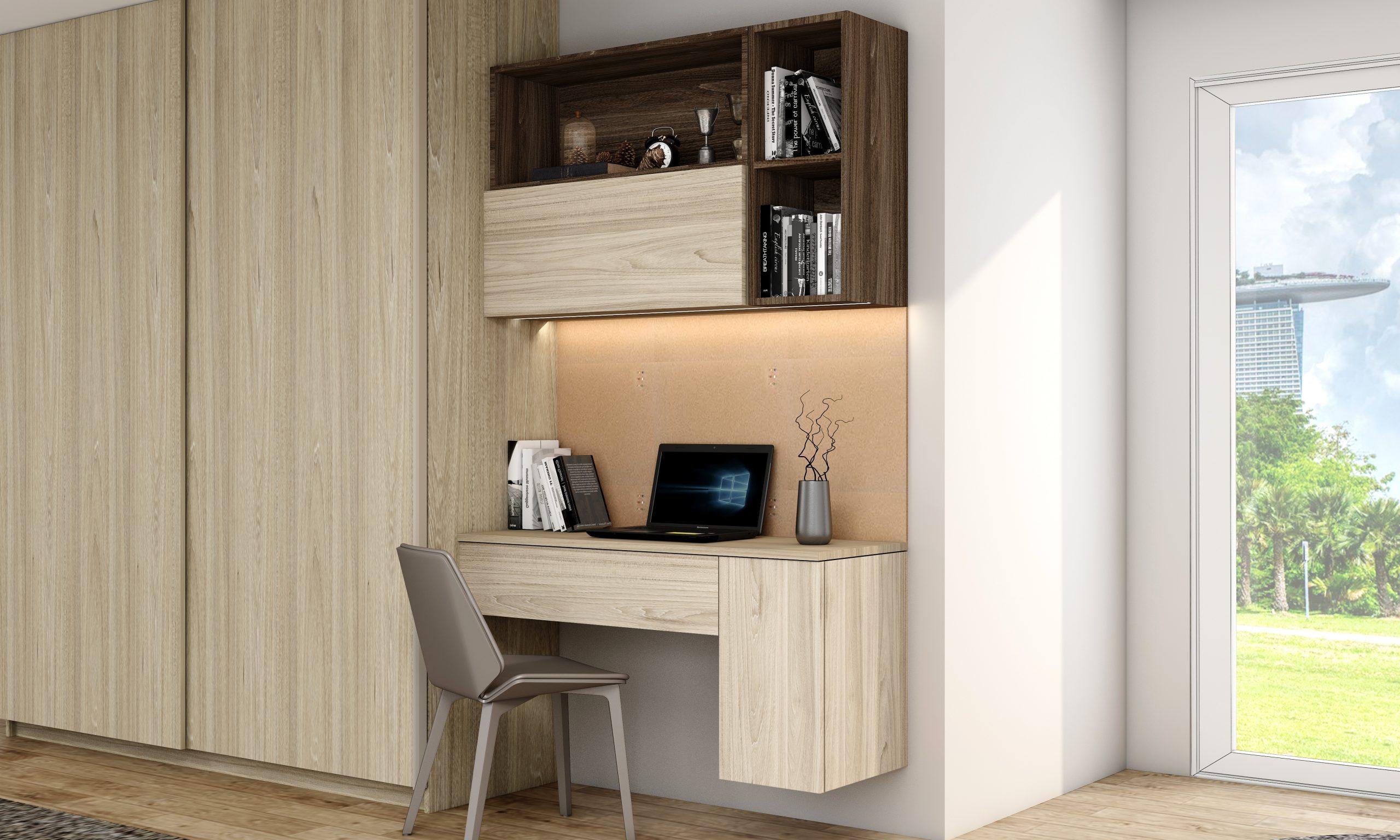 Sliding Wardrobe With Home Study Desk in Woodgrain Finish