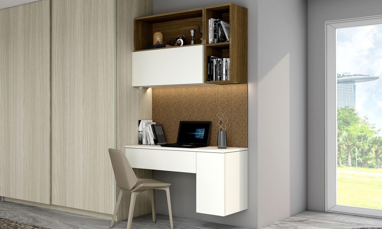 Sliding Wardrobe with Study Desk Unit in White matt and light oak finish