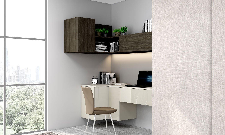 Sliding Wardrobe with corner Study Desk in Light grey, woodgrain sable and Grey Linen finish