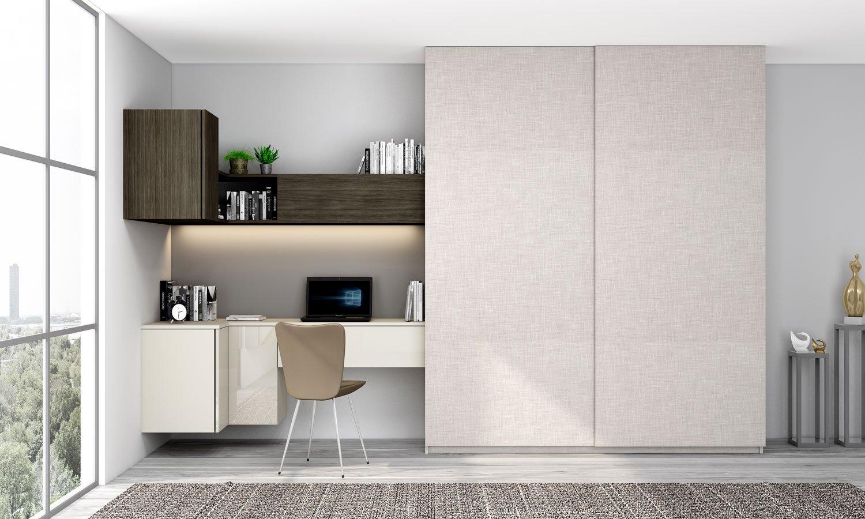 Sliding Wardrobe with Study Desk in Light grey, woodgrain sable and Grey Linen finish
