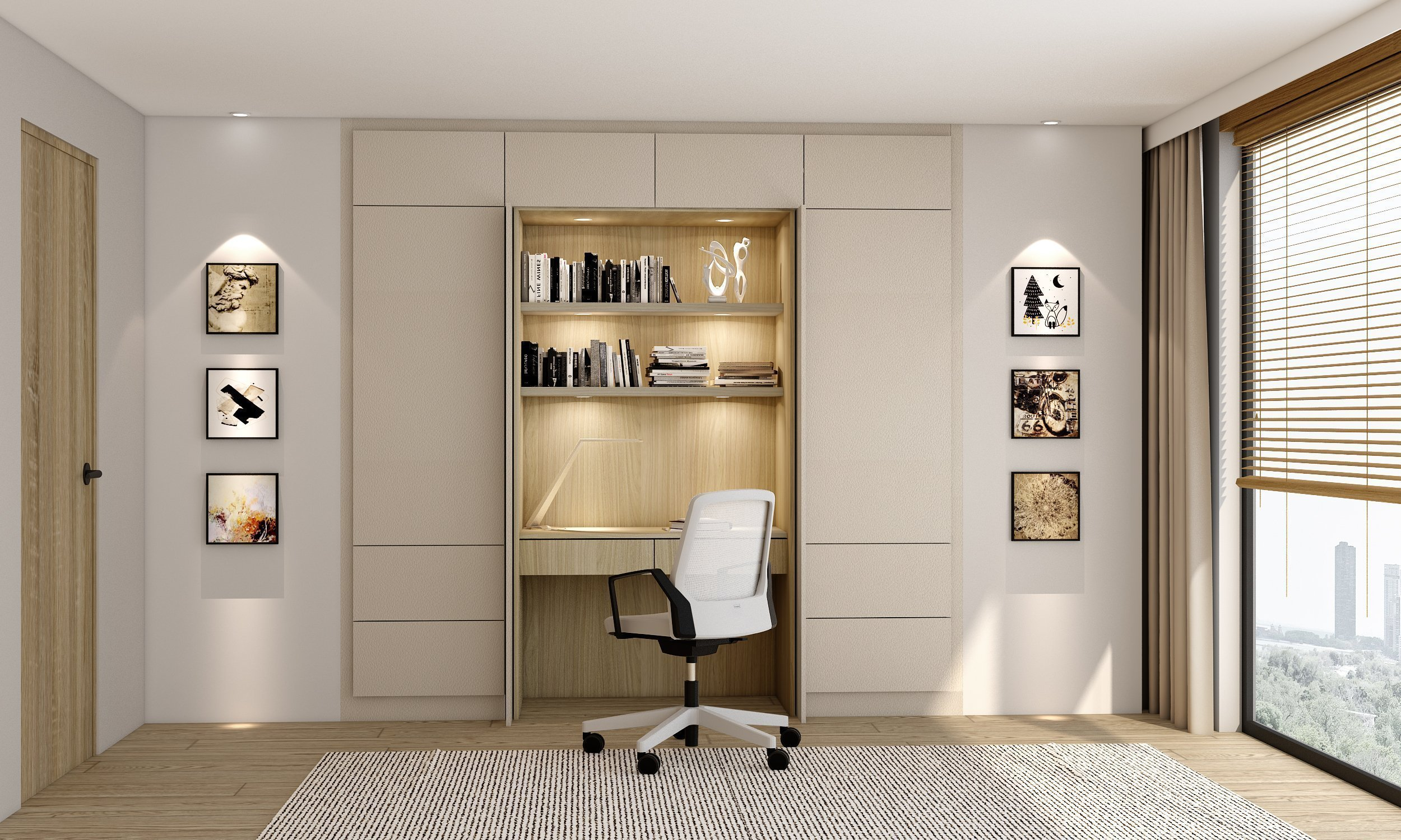 Study Office area with pocket door system in cream leather finish