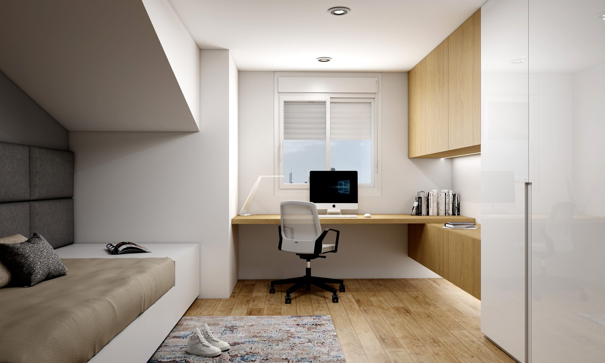 Study Office finished in Natural Oak Woodgrain