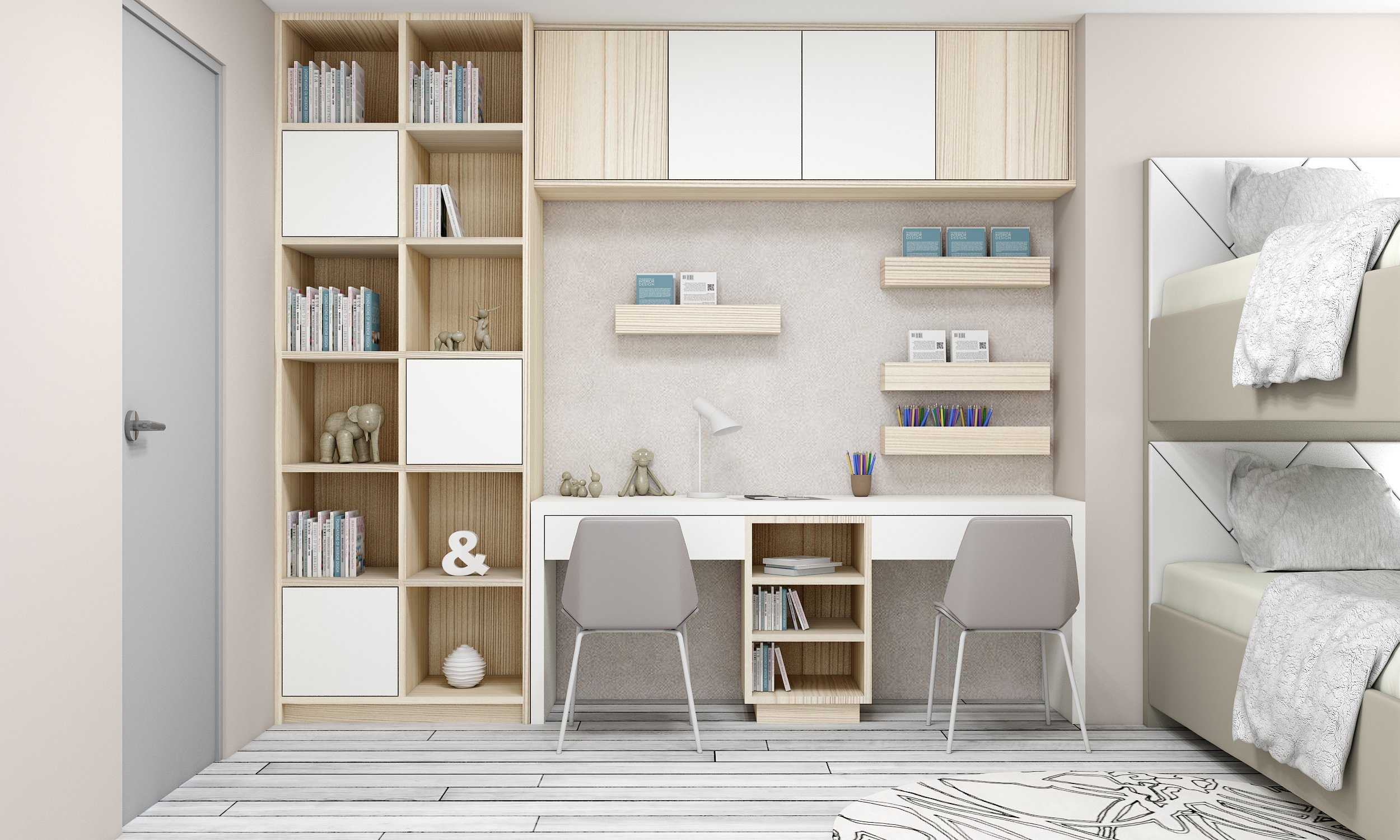 Study Office finished in light woodgrain fleetwood finish and White matt