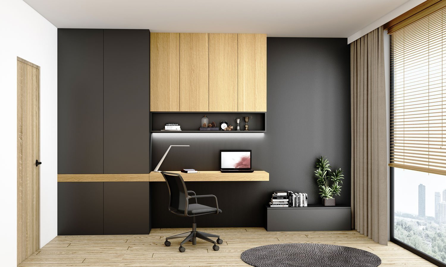 Study, Office finished with Graphite Matt and Natural Oak Woodgrain