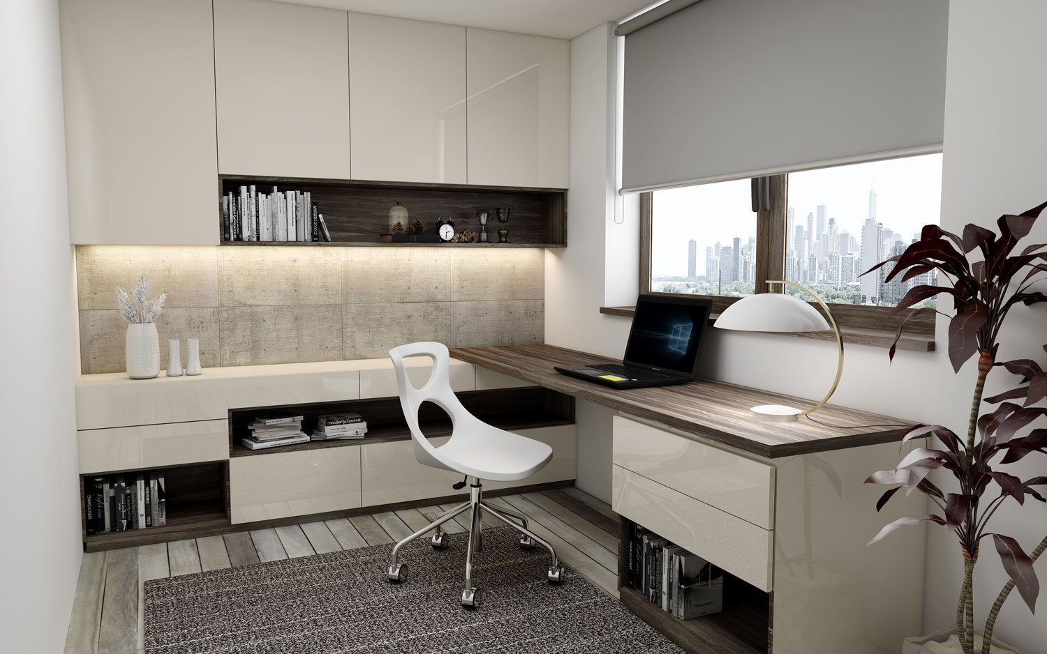 Study Office Finished With a Combination of Oper Walnut Woodgrain and Cashmere High Gloss