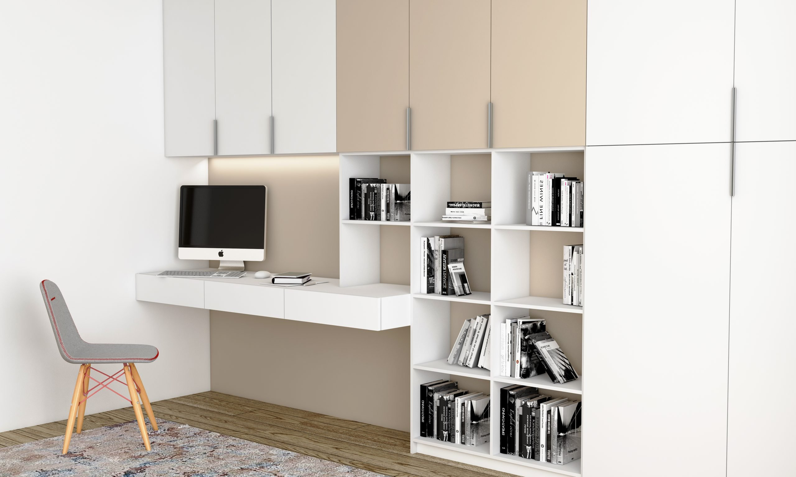 Study Office in White Matt and Cashmere Grey Matt finish