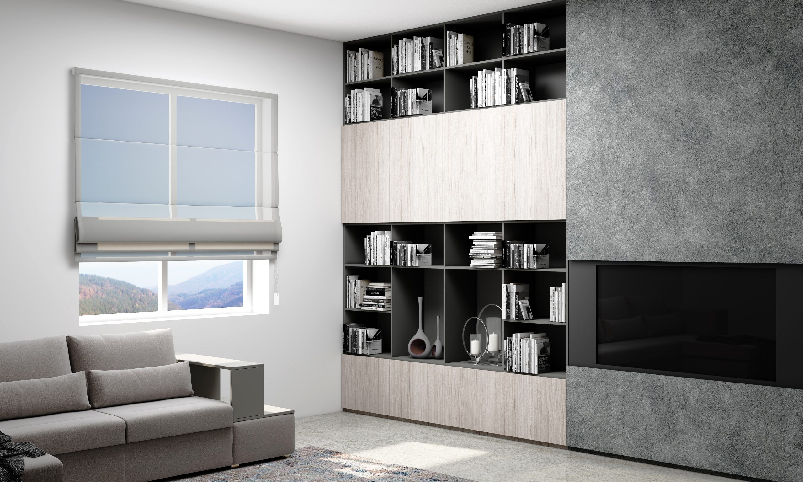 Study and Office With a Combination of Graphite Matt and Fabric Ash and Fusion.