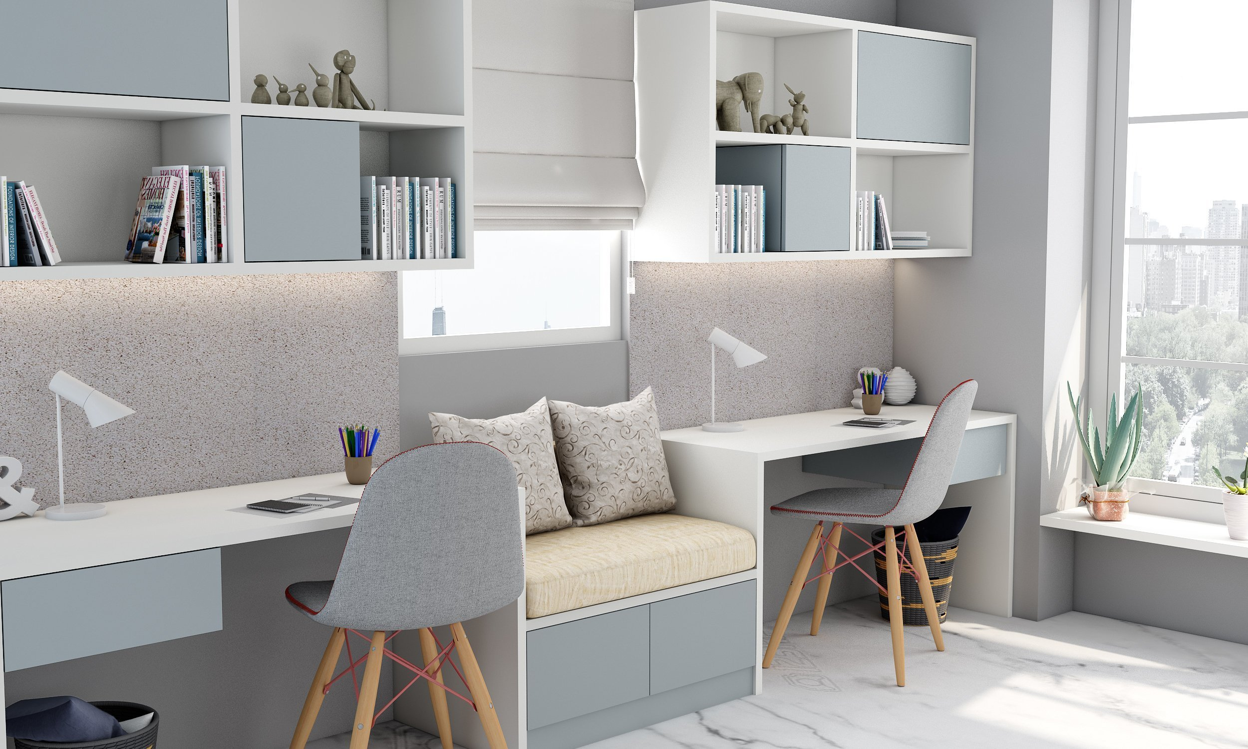 Study Finished in Light Grey and Alpine White With a Cushion Seating in Centre