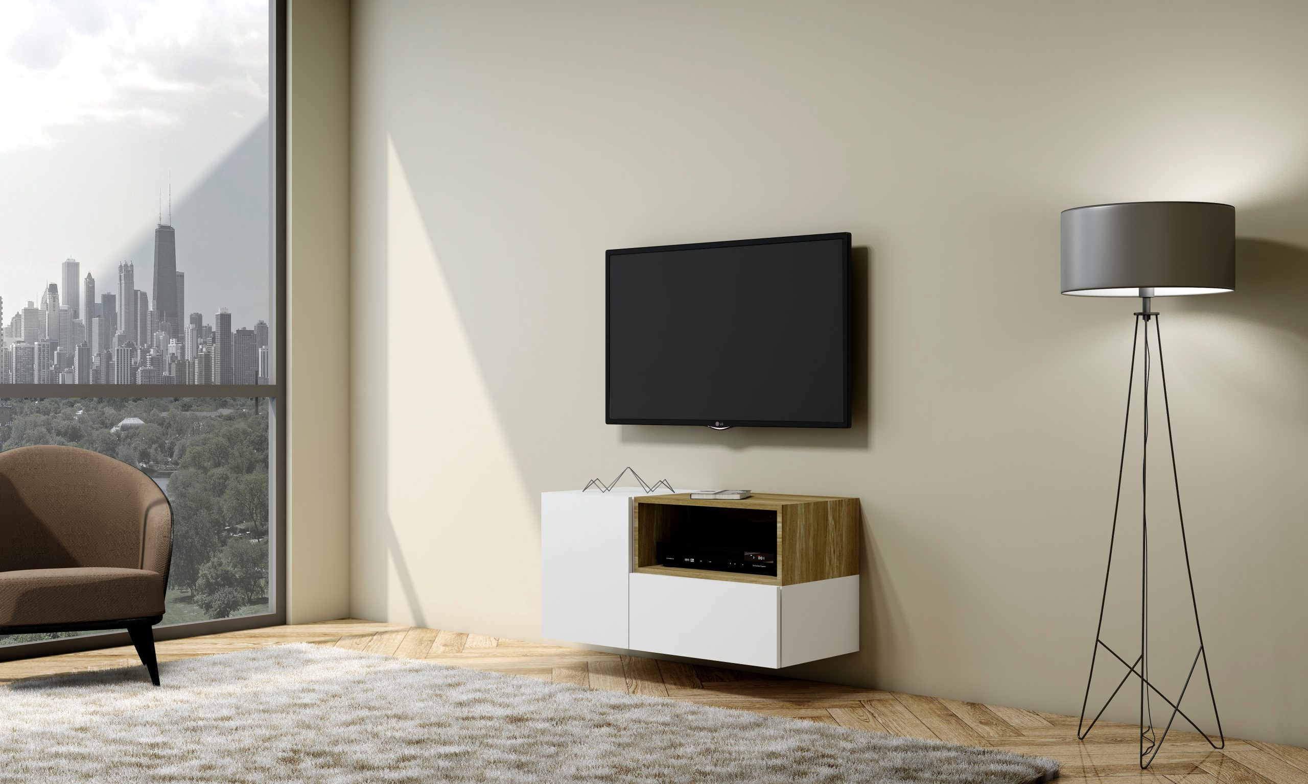 TV unit with Storage in Base unit, Drawer in Alpine White finish, and Open Box Lancaster Oak