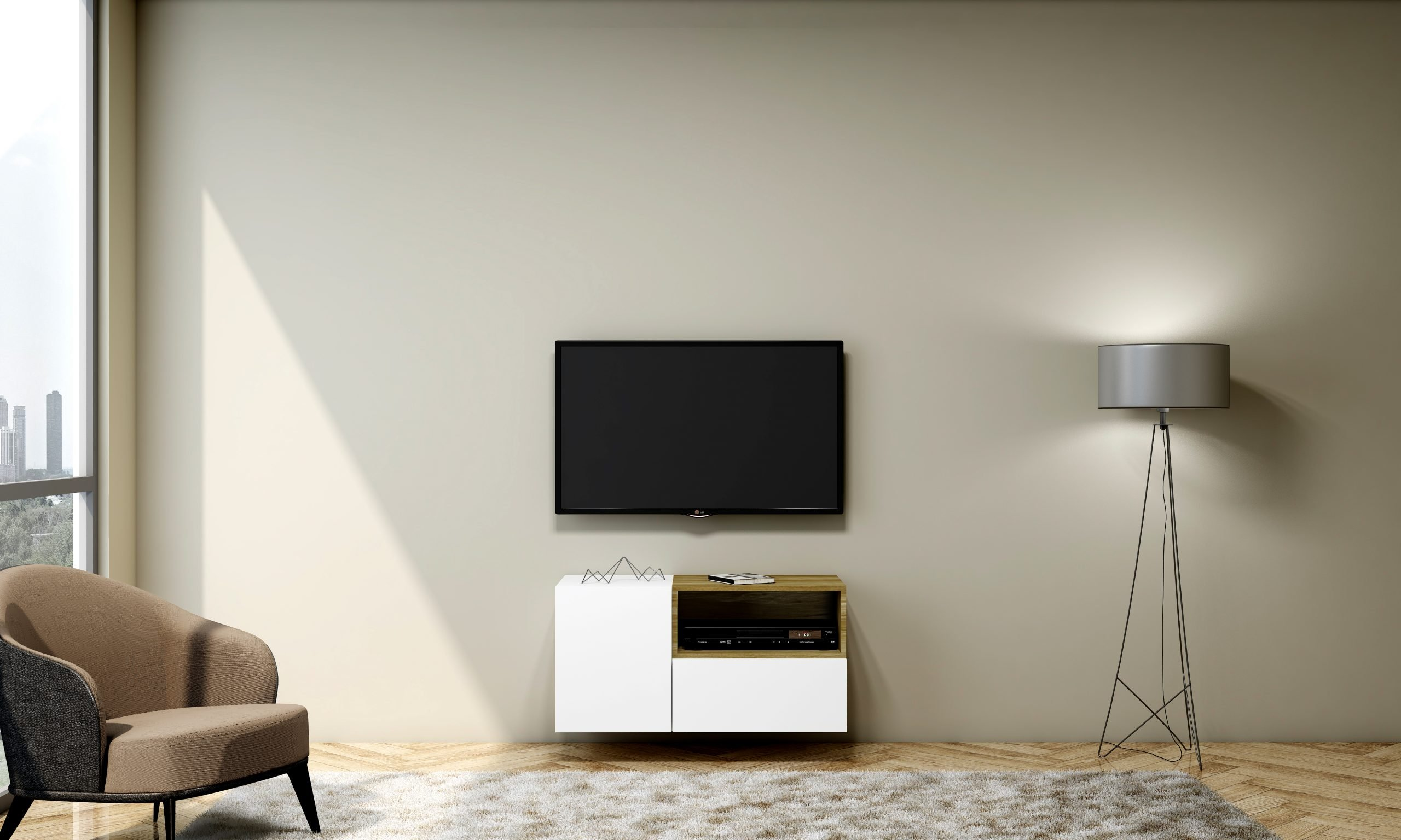 Small TV unit with Storage in Base unit, Drawer in Alpine White finish, and Open Box Lancaster Oak