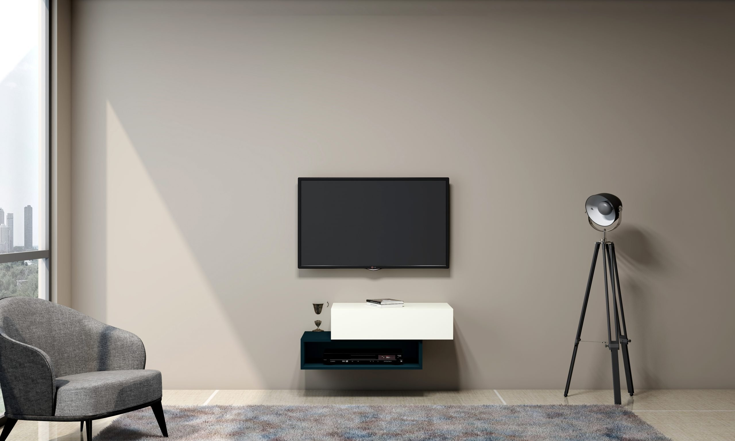 Gloss TV unit with Storage in Base unit Drawer in Premium white and Open Box in Moonlight Blue