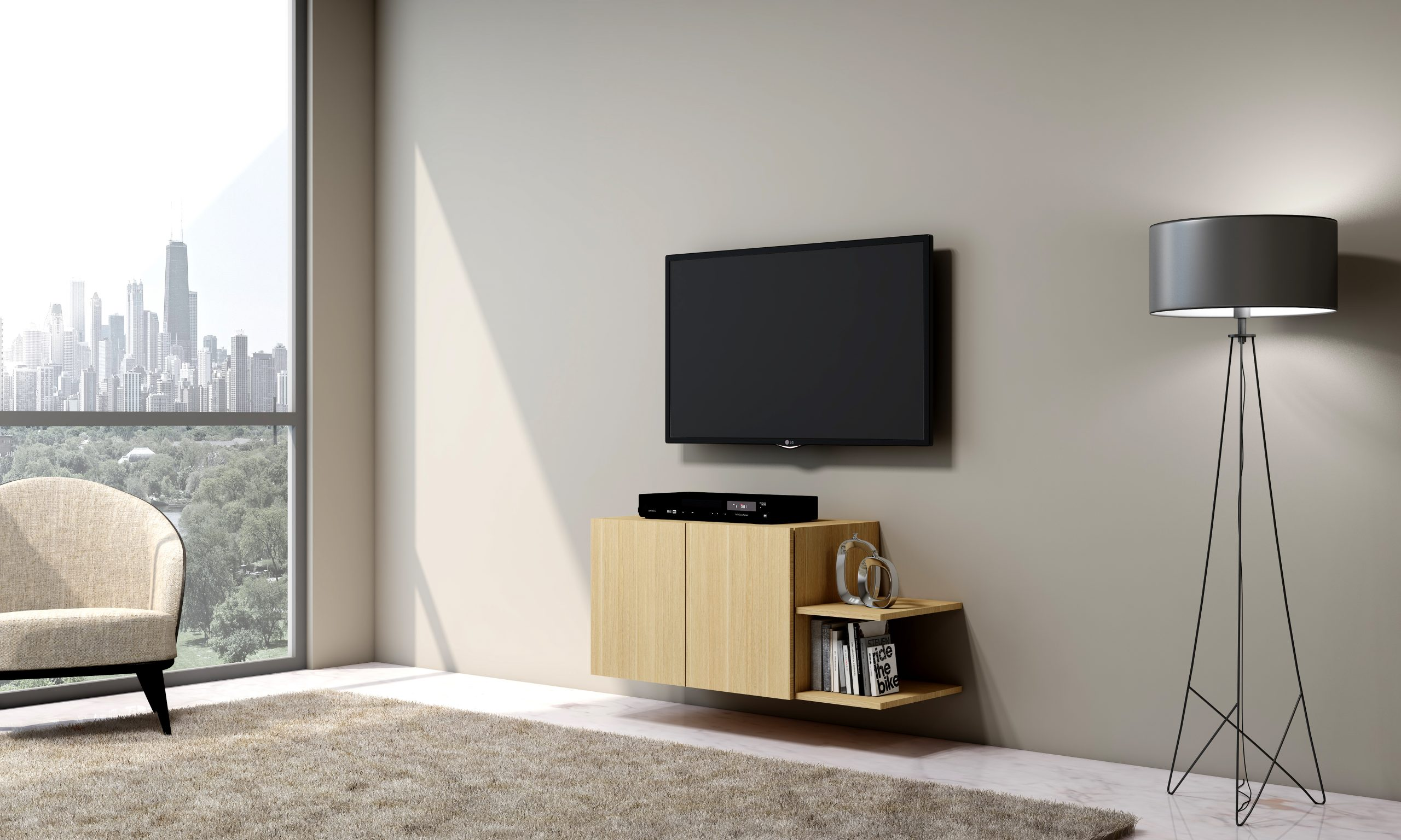 Small TV unit with Storage in Base unit, and Two Shelves in Kaysersberg Oak