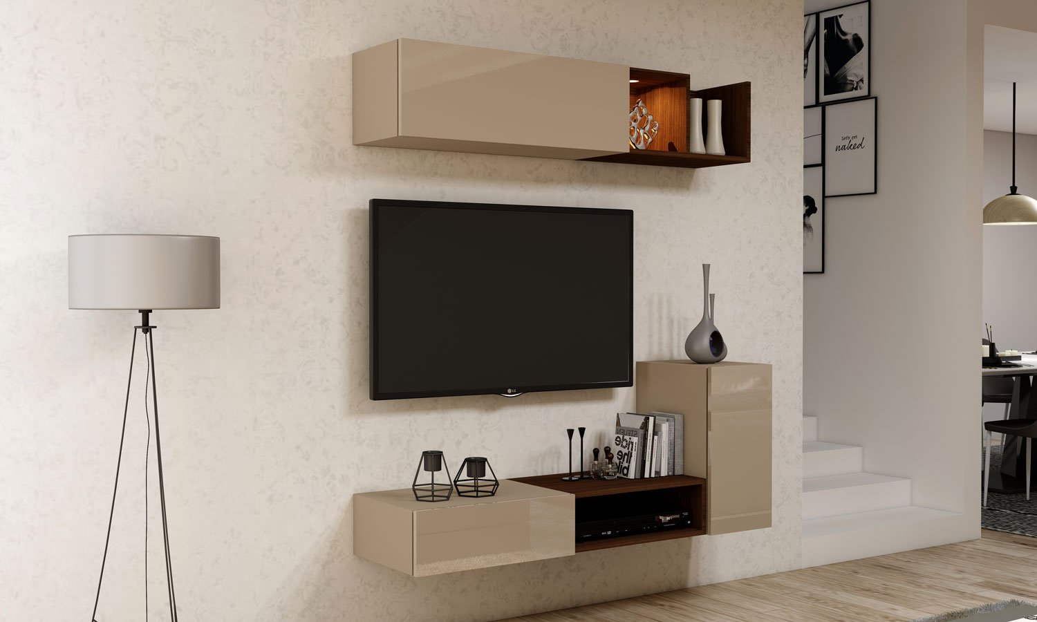 Gloss TV unit with Storage in Drawer, Flap up in Cashmere Grey finish, and open units in Lincoln Walnut
