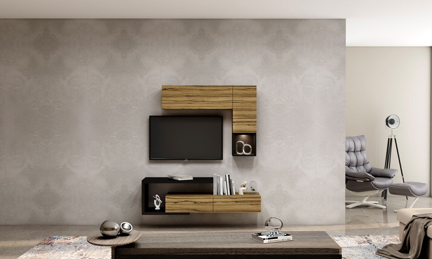 TV unit with Storage in Drawers,Flap Up in Oak finish, Shelves and Open Unit in Graphite Grey