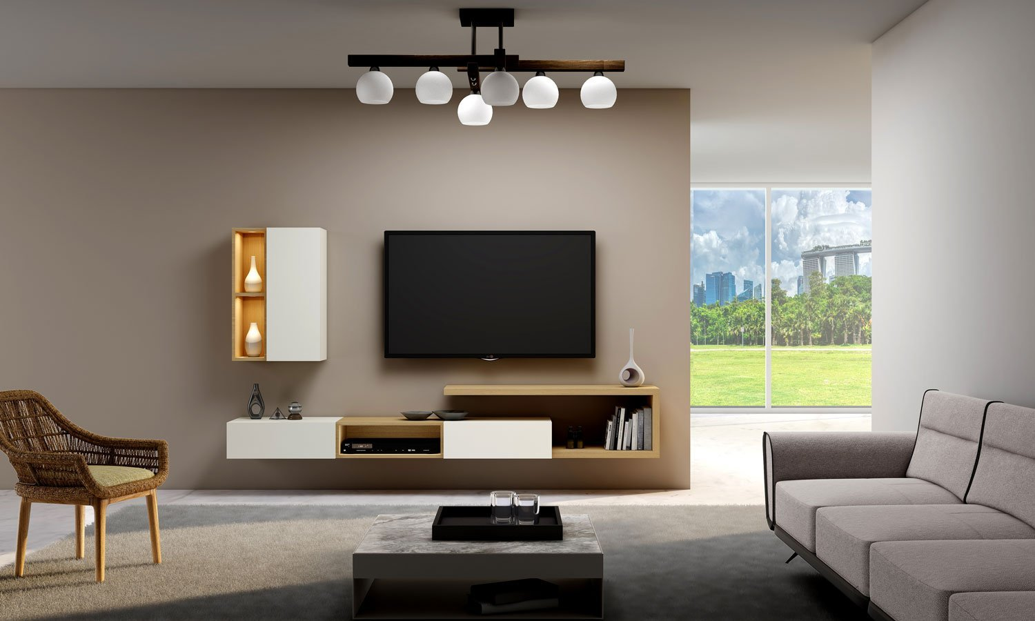 Gloss TV unit with Storage in Drawers,Open Shelves and Wall units in combination of Natural Lancaster Oak and White