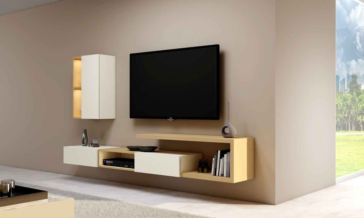 Matt TV unit with Storage in Drawers,Open Shelves and Wall units in combination of Natural Lancaster Oak and White