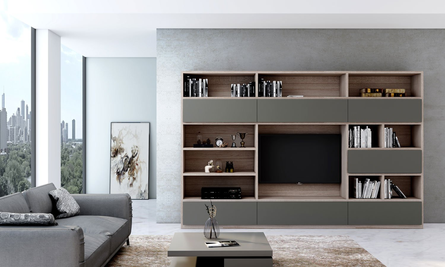 TV unit with Storage in Flap ups, Drawers and Open shelf units in Combination of White Halifax Oak and Onyx Grey