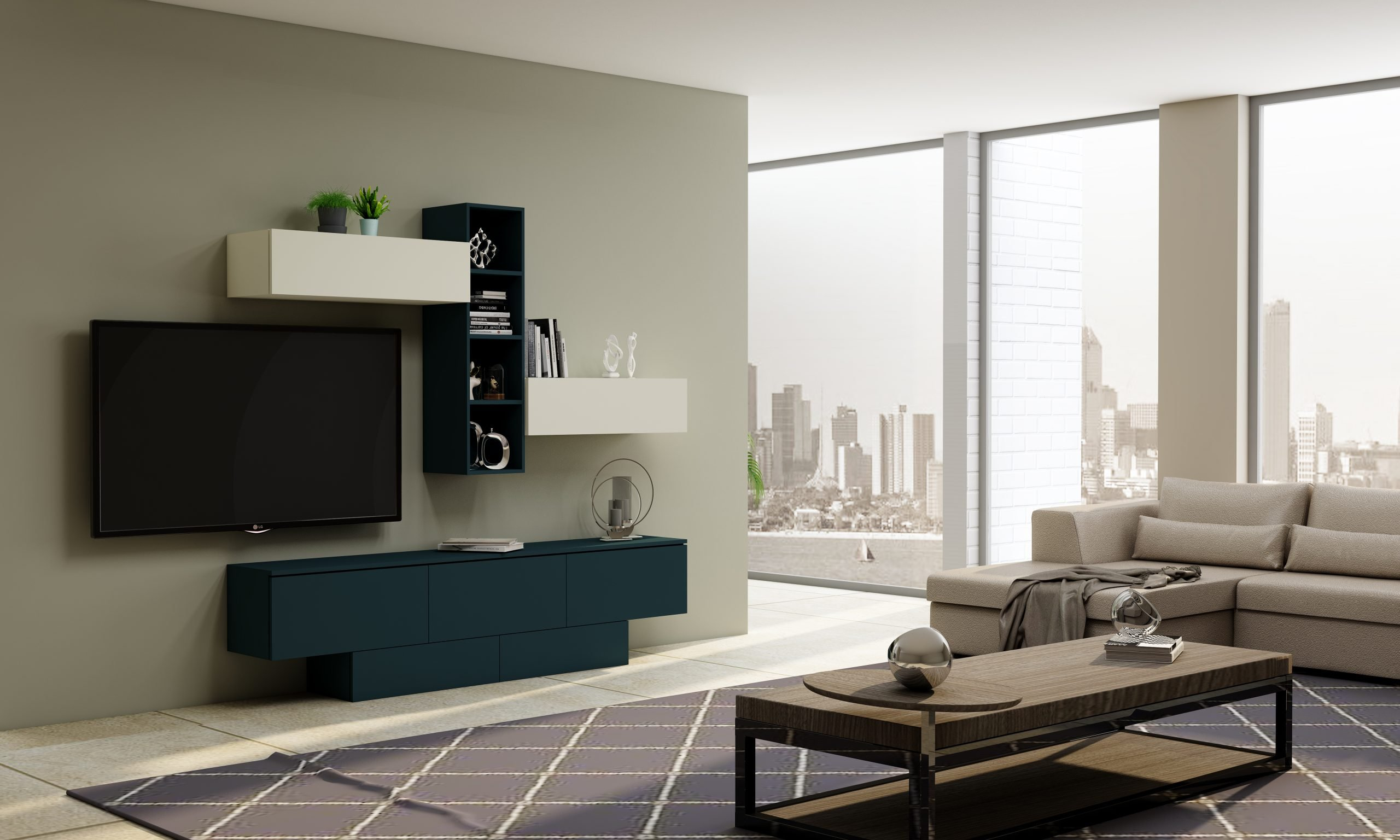 TV unit with Storage in Flap ups, Drawers and Open shelf units in Combination of White and Smoke Blue