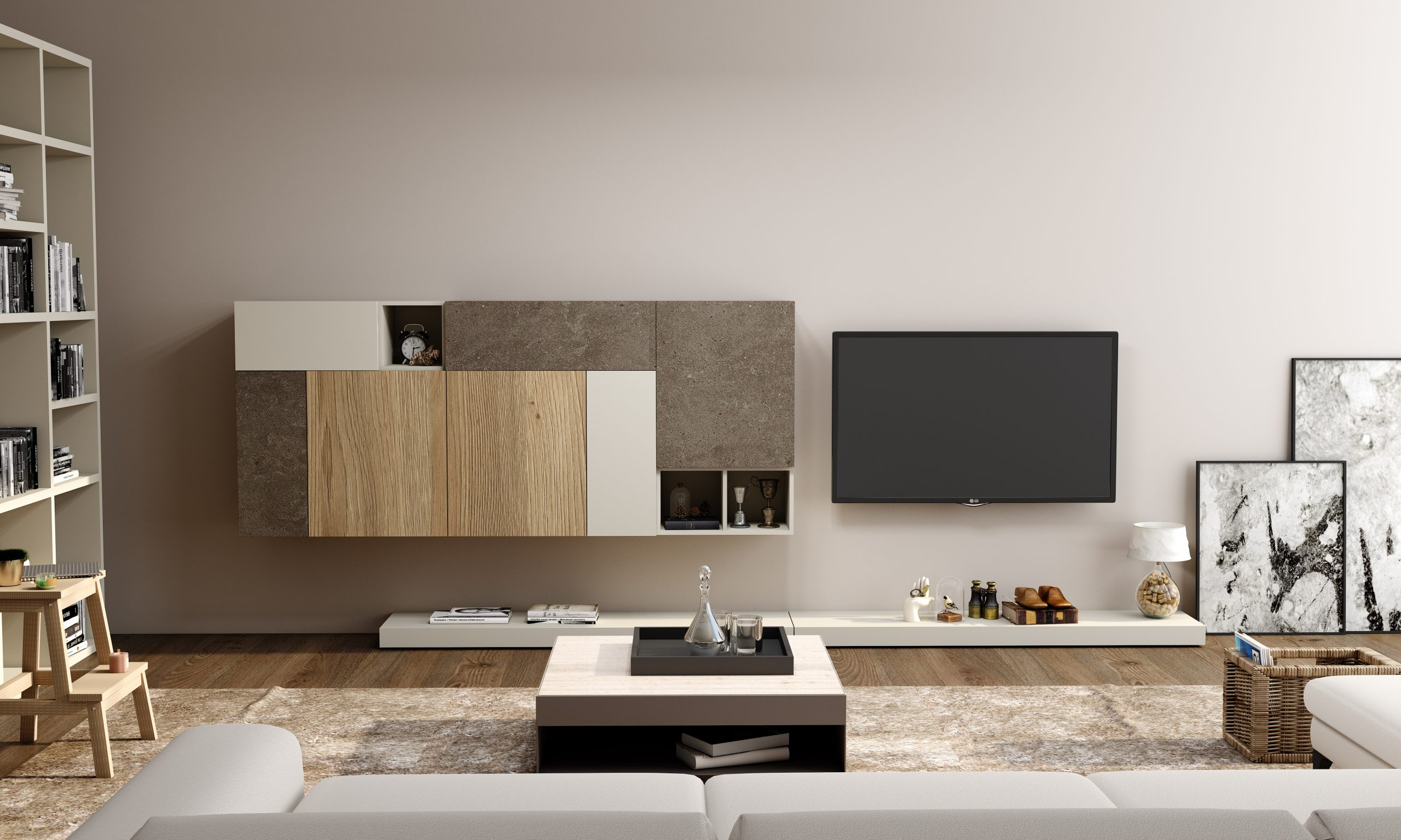 Wall TV unit with Storage in Flap ups & Open shelf units in Combination of White,Grey-Beige Gladstone Oak and Glauco Ares