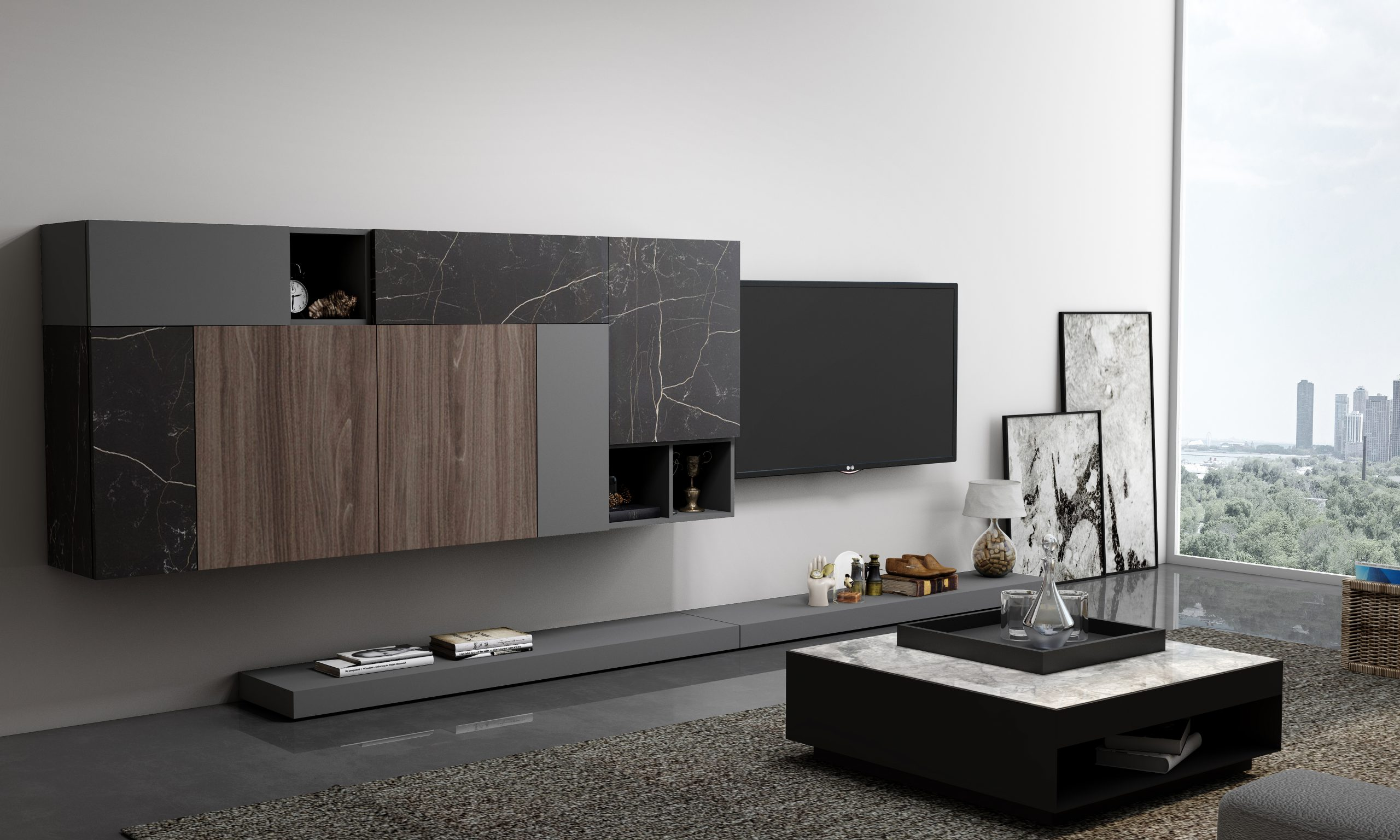 Wooden TV unit with Storage in Flap ups,Wall Units and Open shelf units in Combination of Dark Grey, Dark Select Walnut and Black Marble finish
