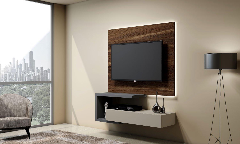 Matt TV unit with Drawer in Light Grey finish, and a Shelves in Dust Grey finish and shelves in dust grey