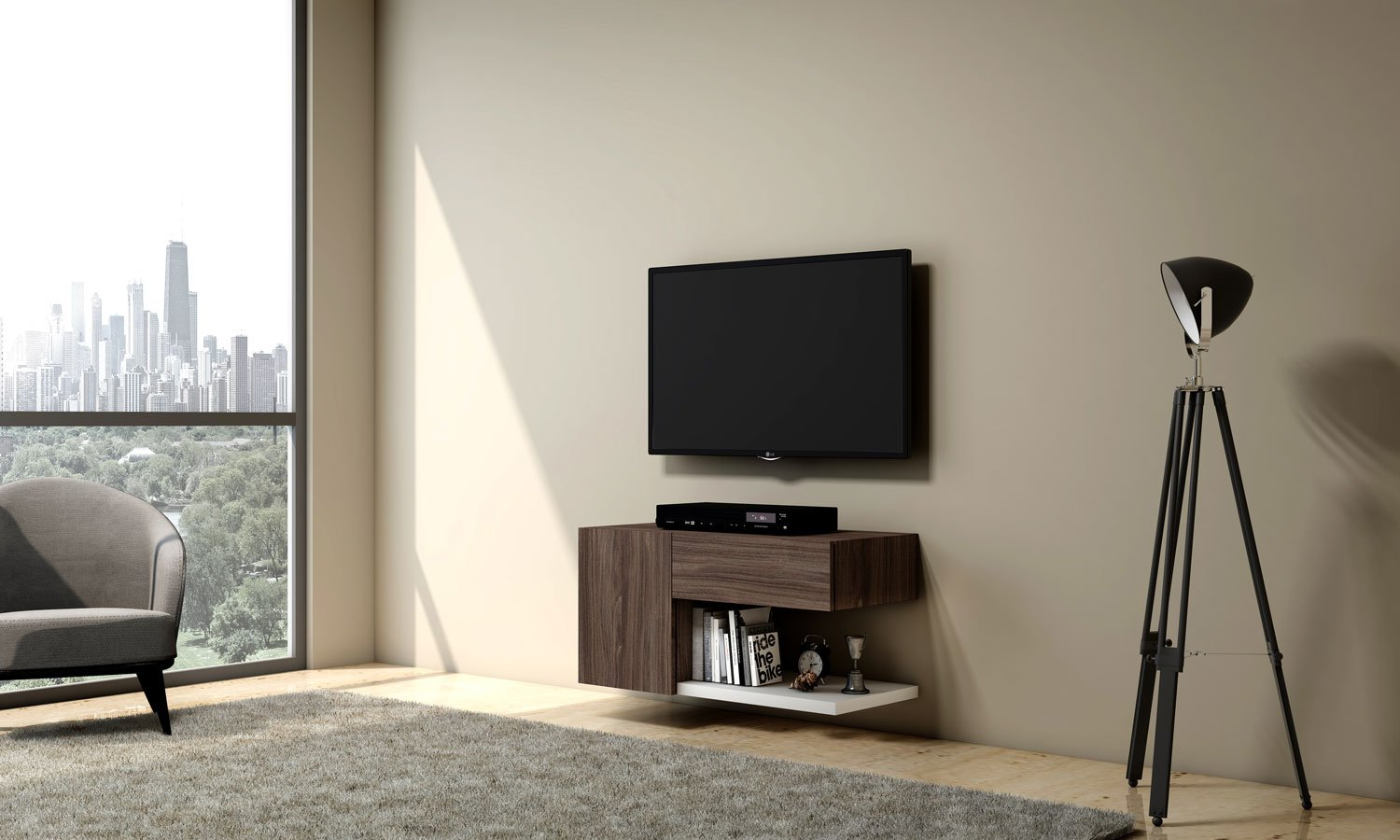 Wooden TV unit with storage drawers and open shelf in natural carini walnut and Alpine white finish (1)