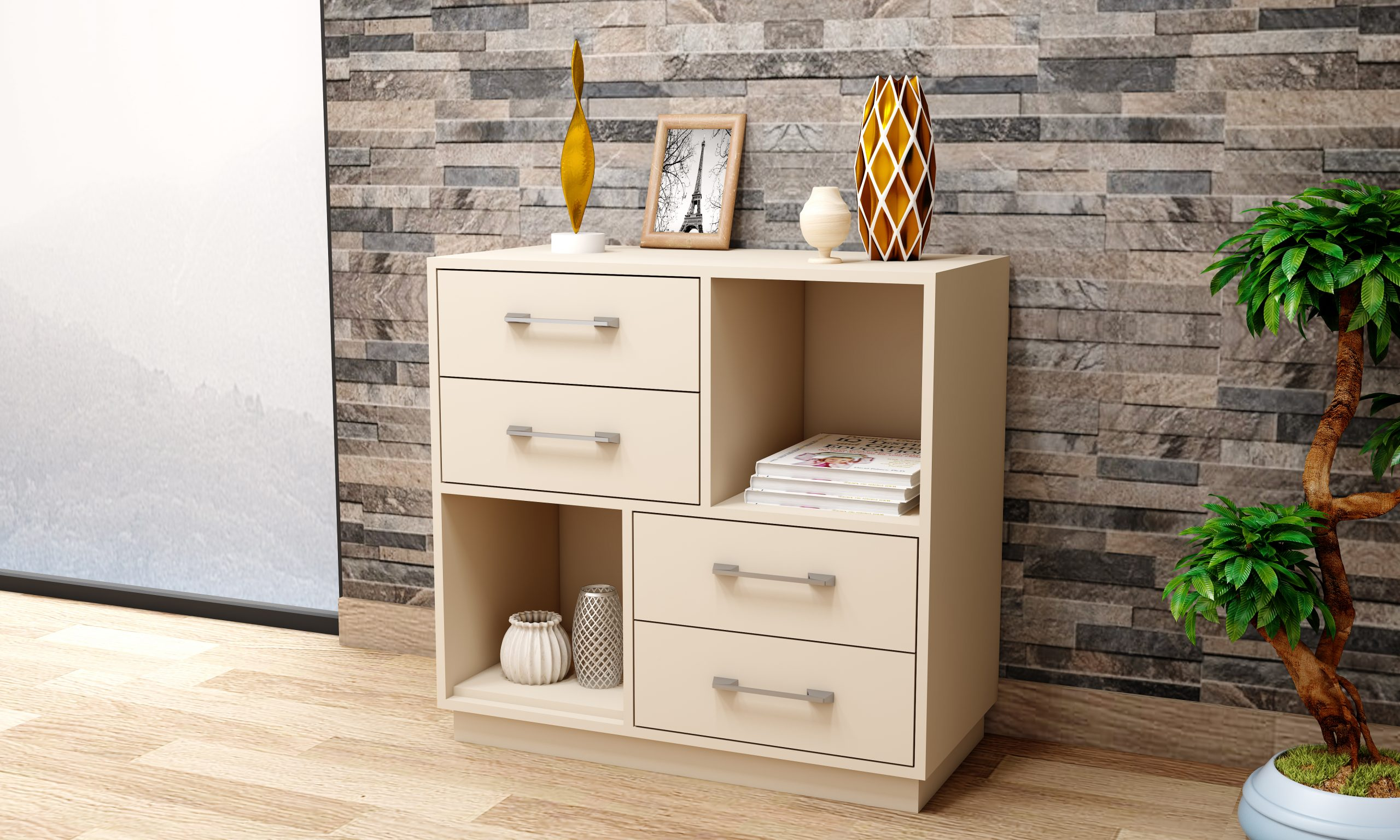 Free standing chest drawers and storage cabinets.