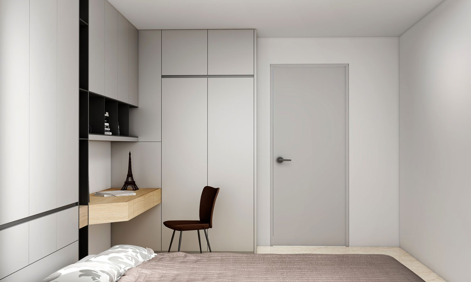 wardrobe with study table open shelves