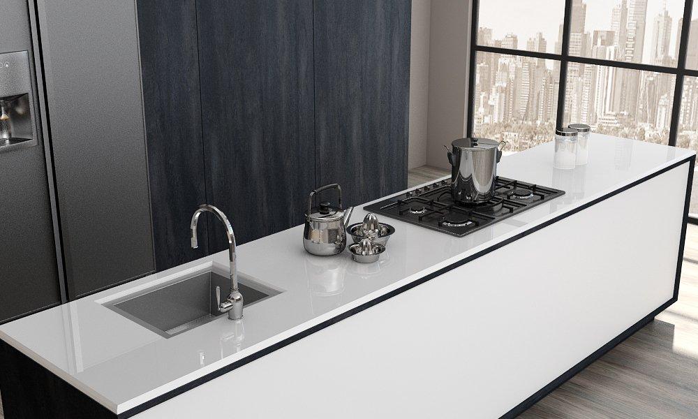White Glass Worktop Kitchens